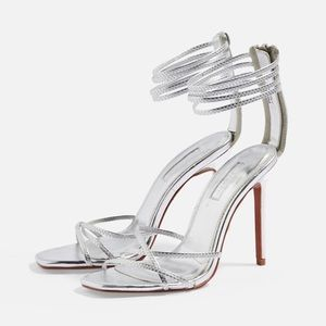 Topshop Rich Tall Strappy Sandal in Silver